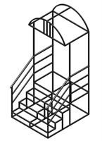 Лестница к дому 4 ступени с площадкой и козырьком