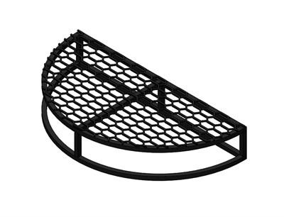 Крыльцо - площадка к дому Полукруглая 1 ступень с решеткой - фото 11516
