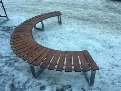 Садовая Скамейка Радиусная Полукруглая-Без спинки большая - фото 6827