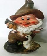 Садовая фигура Гномик кормит уточку 42 х 20 х 19 см. - фото 8572