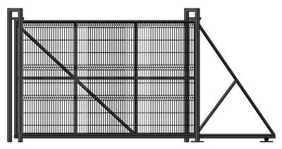 Откатные ворота с сеткой Гиттер 1,9 х 4 метра - фото 8692
