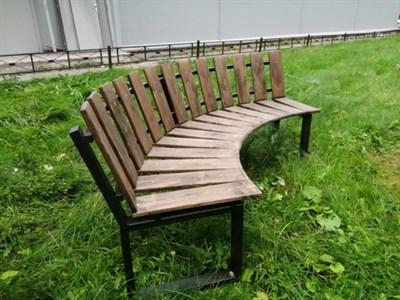 Садовая Скамейка Радиусная Полукруглая-Спинка наружняя наклонная - фото 9727