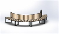 Садовая Скамейка Радиусная Полукруглая-Спинка Внутренняя большая