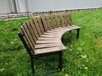Садовая Скамейка Радиусная Полукруглая-Спинка наружняя наклонная